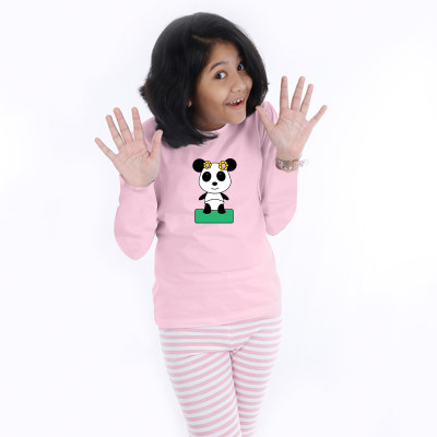 Pink Full Sleeve Girls Pyjama - Panda